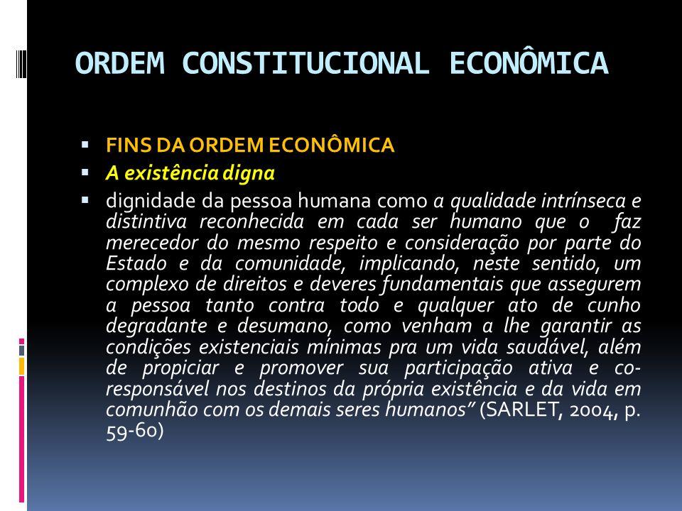 ORDEM CONSTITUCIONAL ECONÔMICA PRINCÍPIOS GERAIS DA ATIVIDADE ECONÔMICA Livre Concorrência O § 4º do art.