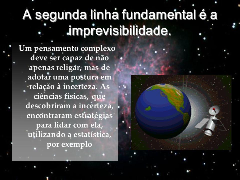 A segunda linha fundamental é a imprevisibilidade. A segunda linha fundamental é a imprevisibilidade. Um pensamento complexo deve ser capaz de não ape