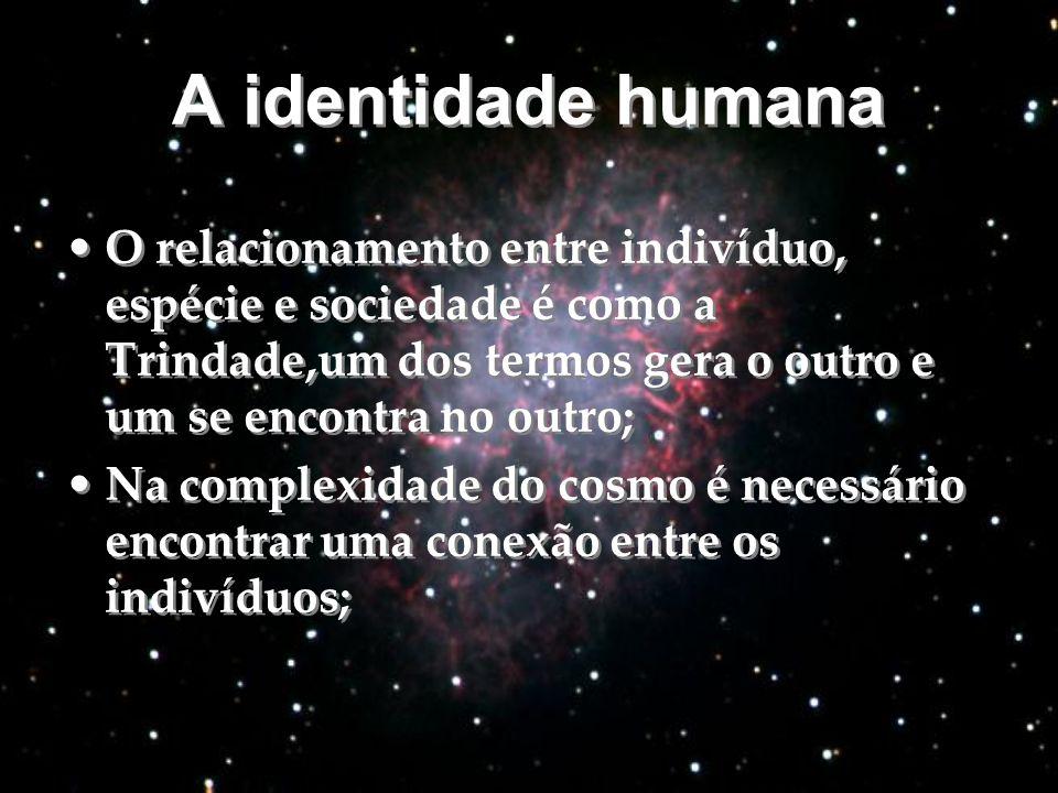 A identidade humana A identidade humana O relacionamento entre indivíduo, espécie e sociedade é como a Trindade,um dos termos gera o outro e um se enc