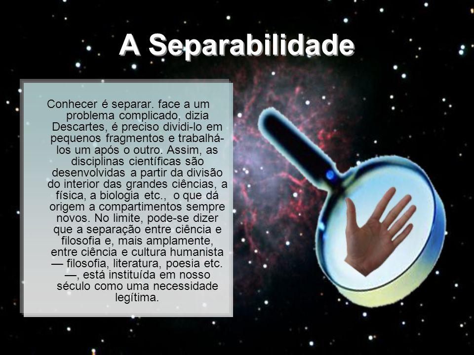 A Separabilidade Conhecer é separar. face a um problema complicado, dizia Descartes, é preciso dividi-lo em pequenos fragmentos e trabalhá- los um apó