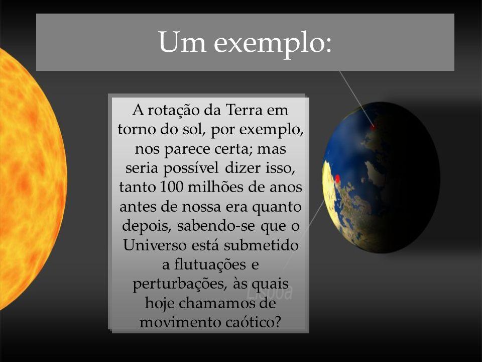 Um exemplo: A rotação da Terra em torno do sol, por exemplo, nos parece certa; mas seria possível dizer isso, tanto 100 milhões de anos antes de nossa