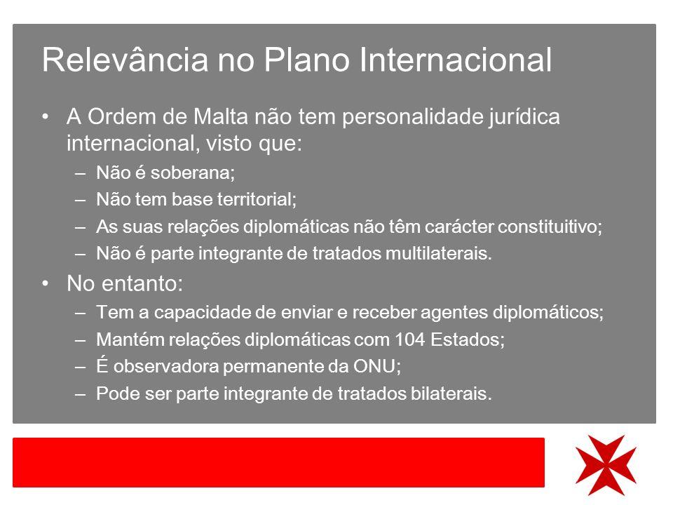 Relevância no Plano Internacional A Ordem de Malta não tem personalidade jurídica internacional, visto que: – Não é soberana; – Não tem base territorial; – As suas relações diplomáticas não têm carácter constituitivo; – Não é parte integrante de tratados multilaterais.