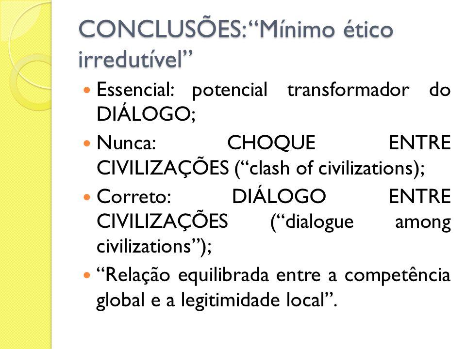 CONCLUSÕES: Mínimo ético irredutível Essencial: potencial transformador do DIÁLOGO; Nunca: CHOQUE ENTRE CIVILIZAÇÕES (clash of civilizations); Correto