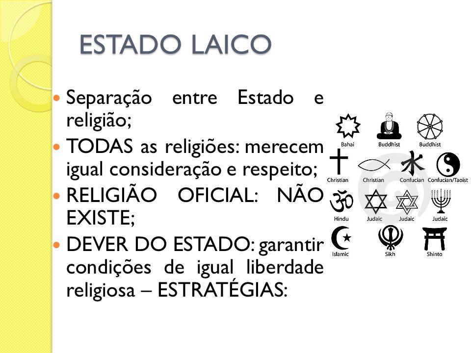 ESTADO LAICO Separação entre Estado e religião; TODAS as religiões: merecem igual consideração e respeito; RELIGIÃO OFICIAL: NÃO EXISTE; DEVER DO ESTA