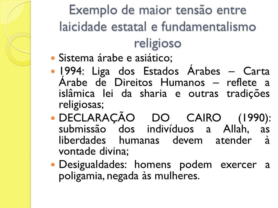 Exemplo de maior tensão entre laicidade estatal e fundamentalismo religioso Sistema árabe e asiático; 1994: Liga dos Estados Árabes – Carta Árabe de D