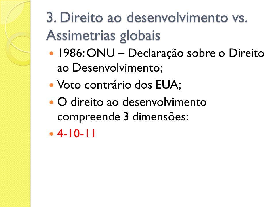 3. Direito ao desenvolvimento vs. Assimetrias globais 1986: ONU – Declaração sobre o Direito ao Desenvolvimento; Voto contrário dos EUA; O direito ao