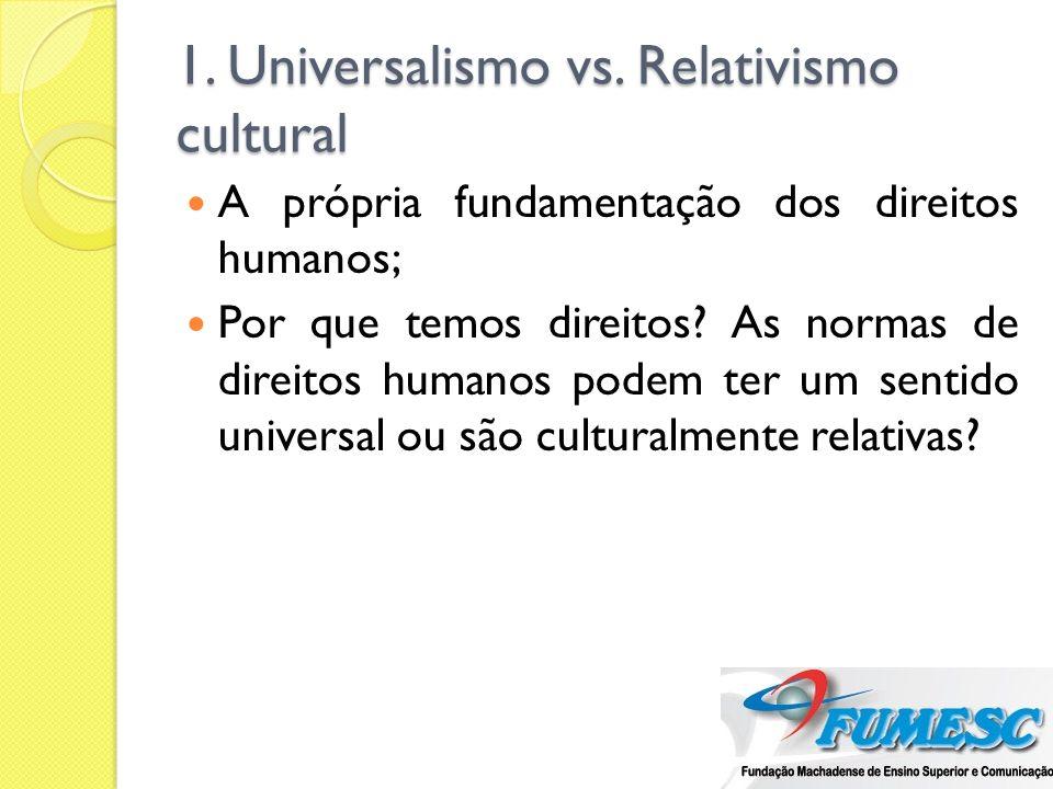 Para os universalistas Os DH decorrem da dignidade da pessoa humana; Qualidade intrínseca à condição humana; Defende-se o mínimo ético irredutível (ainda que se possa discutir o alcance desse mínimo).