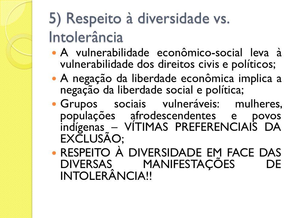 5) Respeito à diversidade vs. Intolerância A vulnerabilidade econômico-social leva à vulnerabilidade dos direitos civis e políticos; A negação da libe