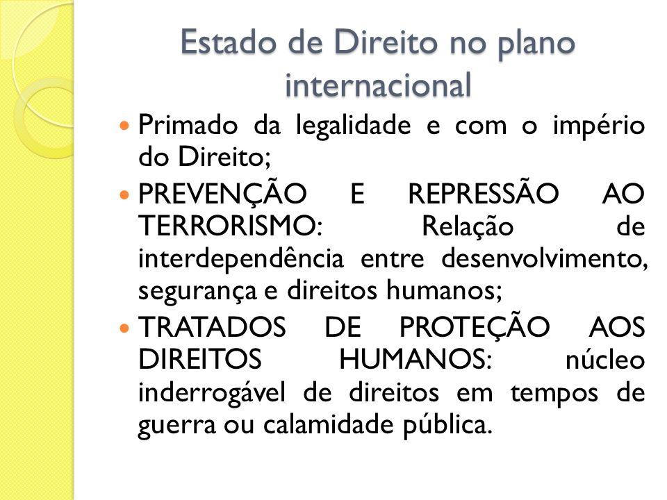 Estado de Direito no plano internacional Primado da legalidade e com o império do Direito; PREVENÇÃO E REPRESSÃO AO TERRORISMO: Relação de interdepend