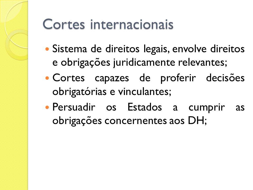 Cortes internacionais Sistema de direitos legais, envolve direitos e obrigações juridicamente relevantes; Cortes capazes de proferir decisões obrigató