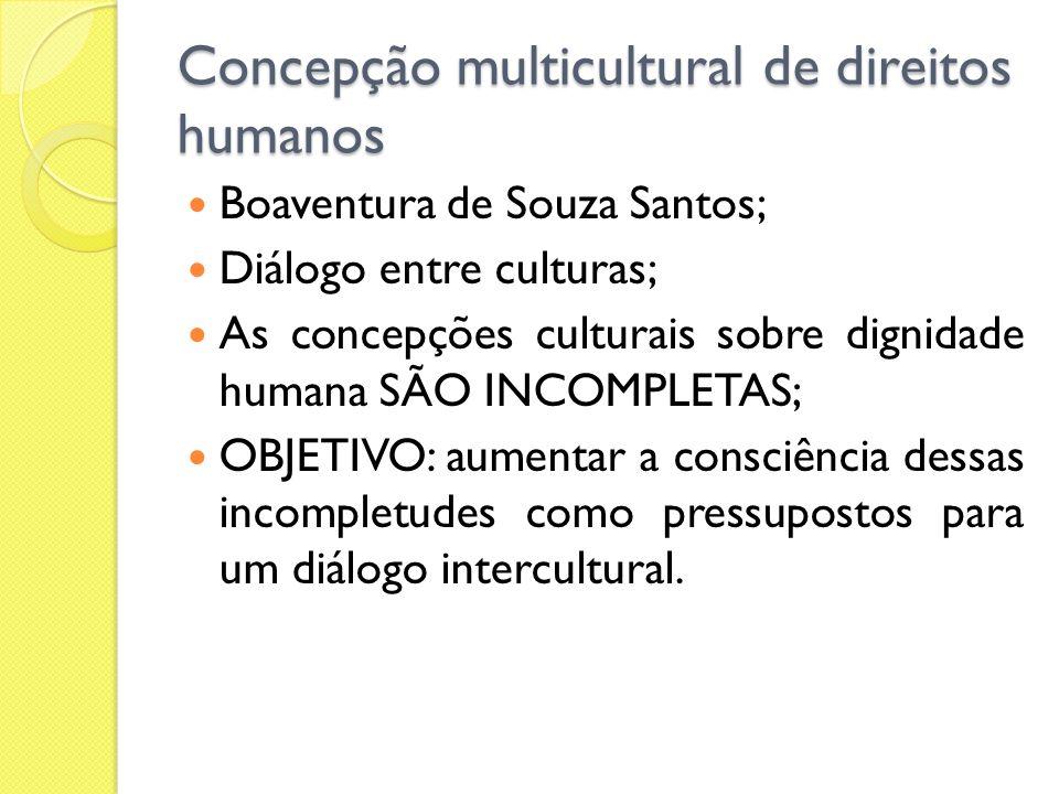 Concepção multicultural de direitos humanos Boaventura de Souza Santos; Diálogo entre culturas; As concepções culturais sobre dignidade humana SÃO INC