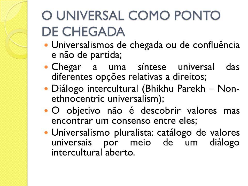 O UNIVERSAL COMO PONTO DE CHEGADA Universalismos de chegada ou de confluência e não de partida; Chegar a uma síntese universal das diferentes opções r