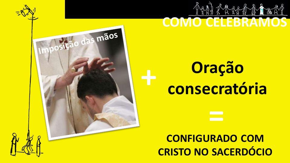 COMO CELEBRAMOS Oração consecratória CONFIGURADO COM CRISTO NO SACERDÓCIO = + Imposição das mãos