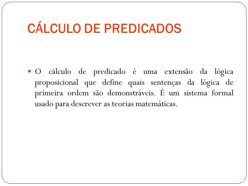 CÁLCULO DE PREDICADOS O cálculo de predicado é uma extensão da lógica proposicional que define quais sentenças da lógica de primeira ordem são demonst