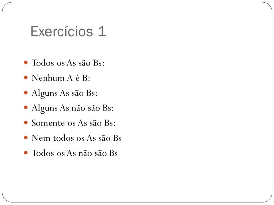 Exercícios 1 Todos os As são Bs: Nenhum A é B: Alguns As são Bs: Alguns As não são Bs: Somente os As são Bs: Nem todos os As são Bs Todos os As não sã
