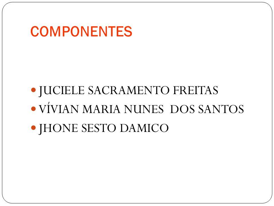 COMPONENTES JUCIELE SACRAMENTO FREITAS VÍVIAN MARIA NUNES DOS SANTOS JHONE SESTO DAMICO