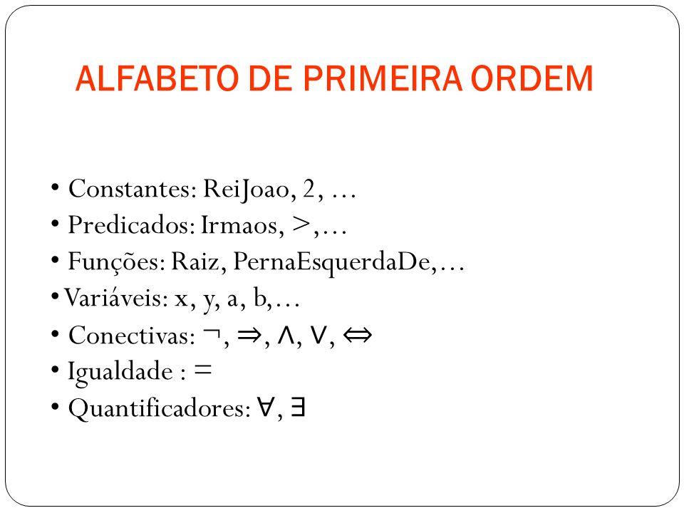 ALFABETO DE PRIMEIRA ORDEM Constantes: ReiJoao, 2,... Predicados: Irmaos, >,... Funções: Raiz, PernaEsquerdaDe,... Variáveis: x, y, a, b,... Conectiva