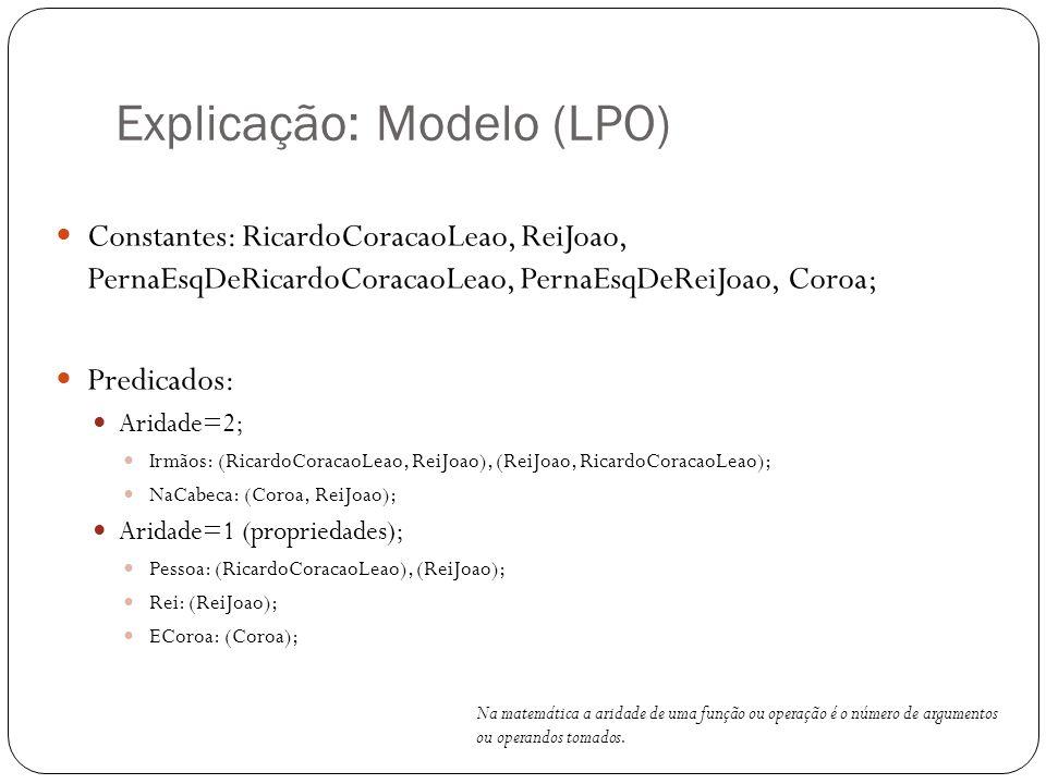 Explicação: Modelo (LPO) Constantes: RicardoCoracaoLeao, ReiJoao, PernaEsqDeRicardoCoracaoLeao, PernaEsqDeReiJoao, Coroa; Predicados: Aridade=2; Irmão