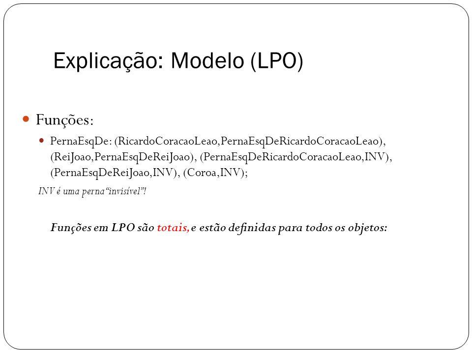 Explicação: Modelo (LPO) Funções : PernaEsqDe: (RicardoCoracaoLeao,PernaEsqDeRicardoCoracaoLeao), (ReiJoao,PernaEsqDeReiJoao), (PernaEsqDeRicardoCorac