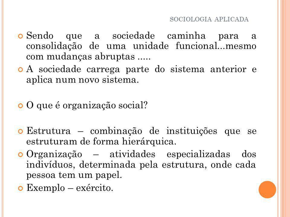 Organização social X Ordem social: Referenciais teóricos de – ORGBURN e NIMKOFF.