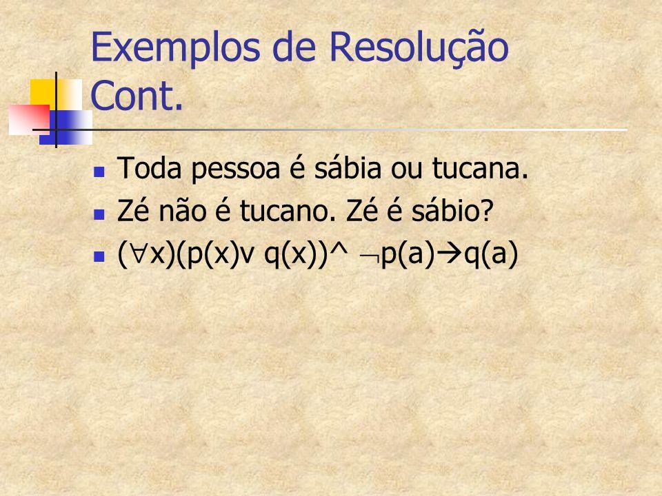 Exemplos de Resolução Cont.Toda pessoa é sábia ou tucana.