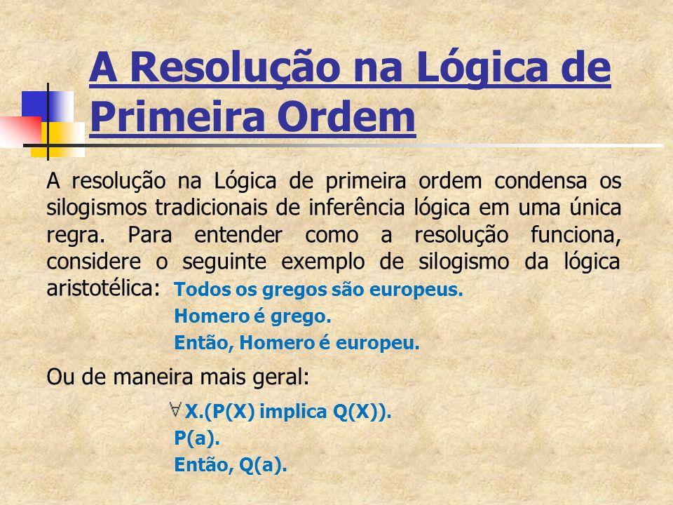 A Resolução na Lógica de Primeira Ordem A resolução na Lógica de primeira ordem condensa os silogismos tradicionais de inferência lógica em uma única regra.
