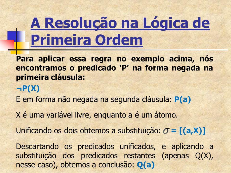 A Resolução na Lógica de Primeira Ordem Para aplicar essa regra no exemplo acima, nós encontramos o predicado P na forma negada na primeira cláusula: ¬P(X) E em forma não negada na segunda cláusula: P(a) X é uma variável livre, enquanto a é um átomo.