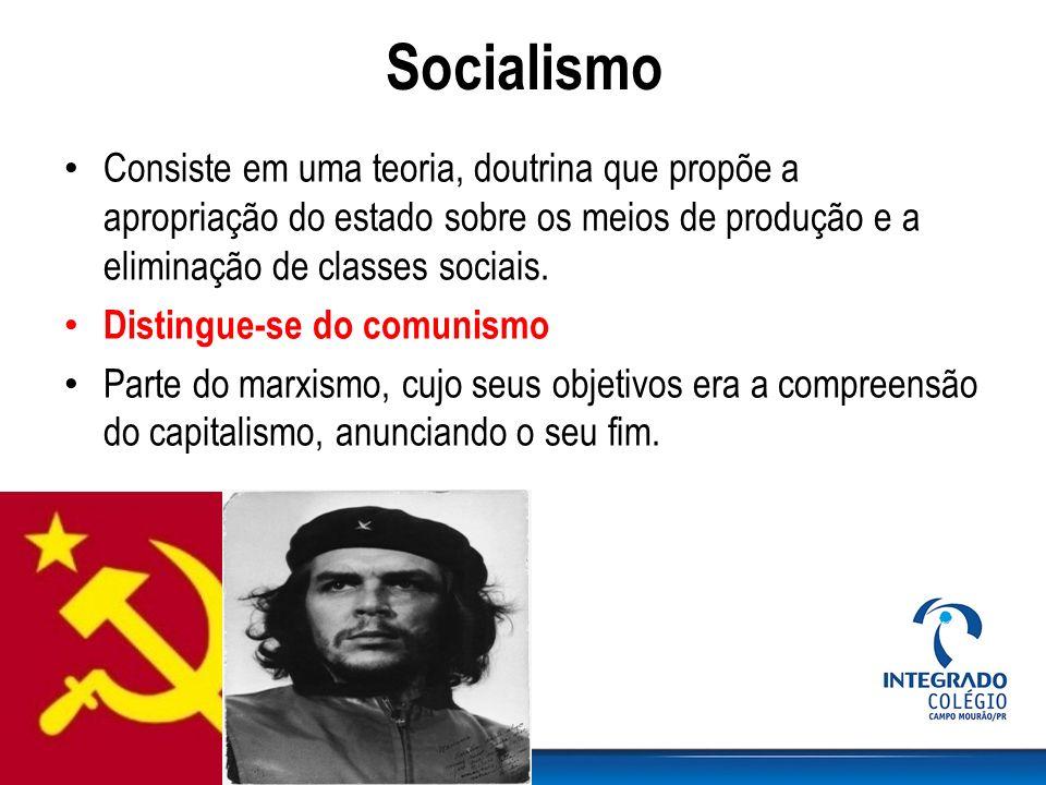 Socialismo Consiste em uma teoria, doutrina que propõe a apropriação do estado sobre os meios de produção e a eliminação de classes sociais. Distingue