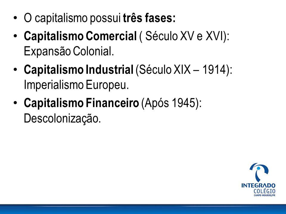 O capitalismo possui três fases: Capitalismo Comercial ( Século XV e XVI): Expansão Colonial. Capitalismo Industrial (Século XIX – 1914): Imperialismo