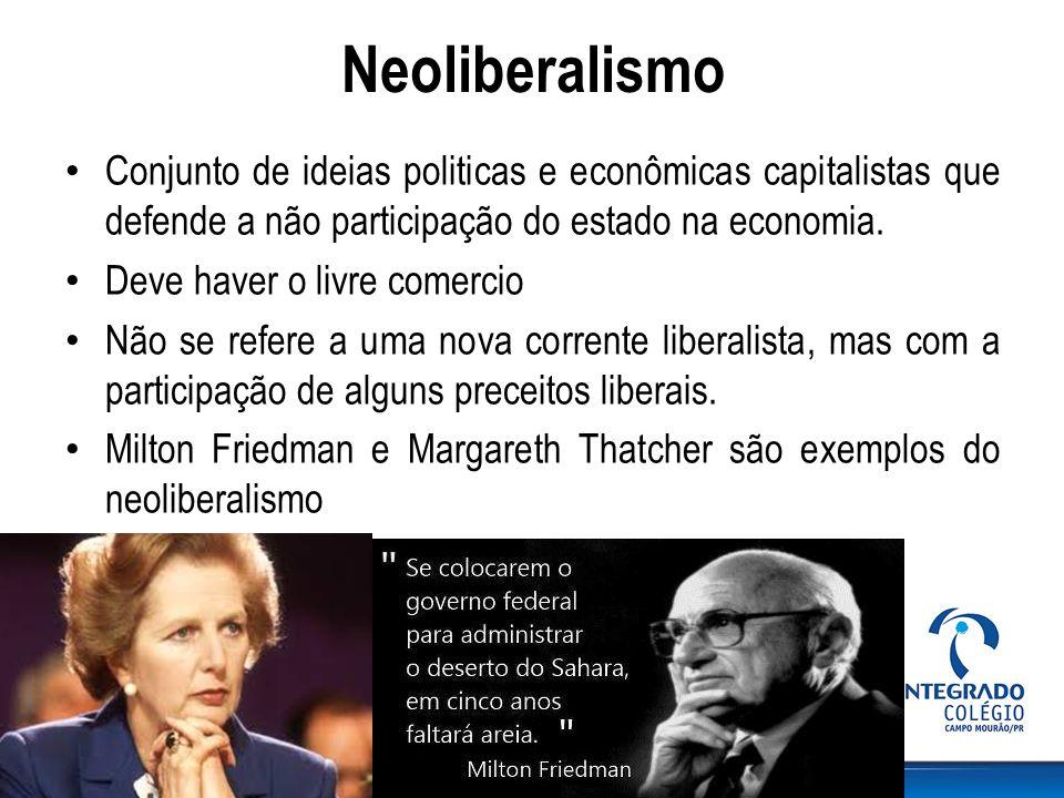 Neoliberalismo Conjunto de ideias politicas e econômicas capitalistas que defende a não participação do estado na economia. Deve haver o livre comerci