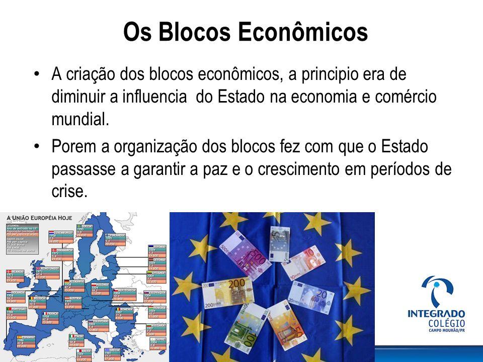 Os Blocos Econômicos A criação dos blocos econômicos, a principio era de diminuir a influencia do Estado na economia e comércio mundial. Porem a organ