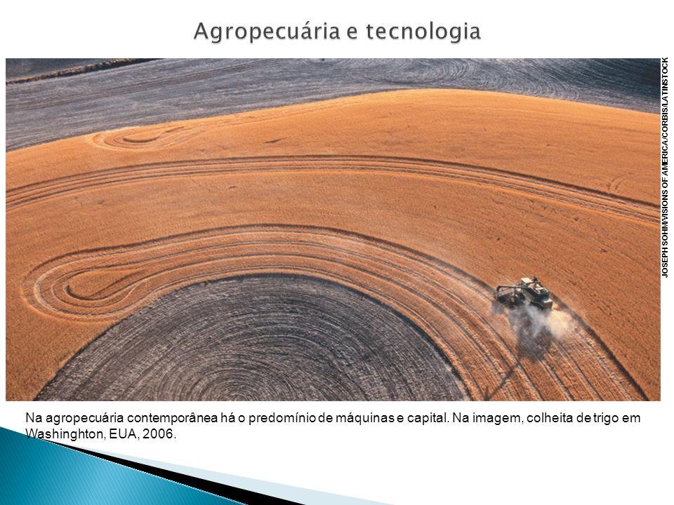 Na agropecuária contemporânea há o predomínio de máquinas e capital. Na imagem, colheita de trigo em Washinghton, EUA, 2006. JOSEPH SOHM/VISIONS OF AM