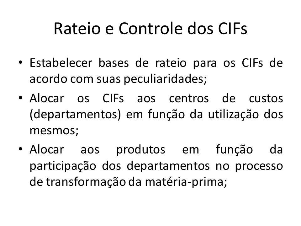 Rateio e Controle dos CIFs Estabelecer bases de rateio para os CIFs de acordo com suas peculiaridades; Alocar os CIFs aos centros de custos (departamentos) em função da utilização dos mesmos; Alocar aos produtos em função da participação dos departamentos no processo de transformação da matéria-prima;