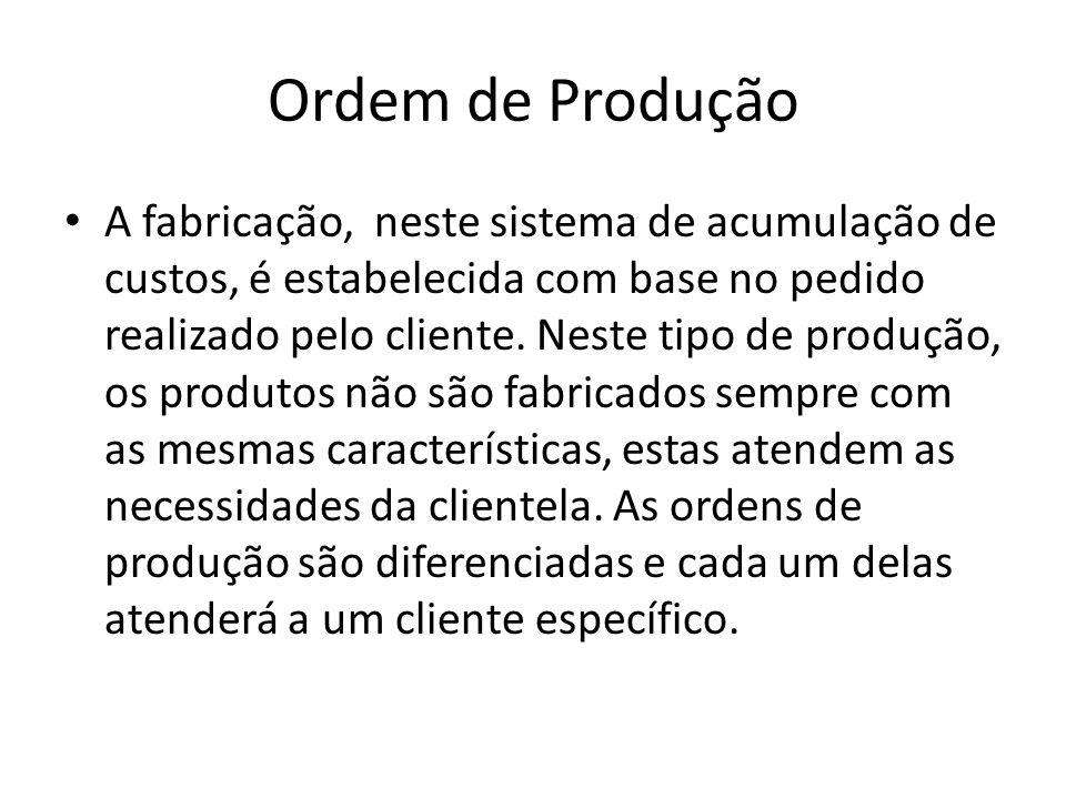Ordem de Produção A fabricação, neste sistema de acumulação de custos, é estabelecida com base no pedido realizado pelo cliente. Neste tipo de produçã