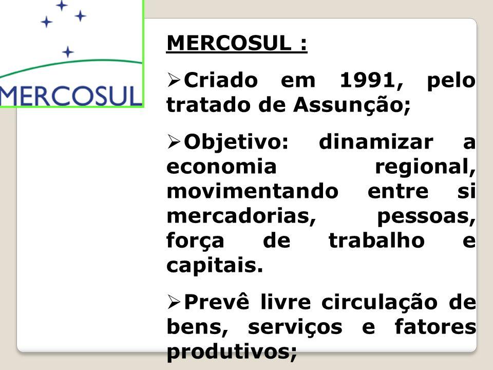 MERCOSUL : Criado em 1991, pelo tratado de Assunção; Objetivo: dinamizar a economia regional, movimentando entre si mercadorias, pessoas, força de tra