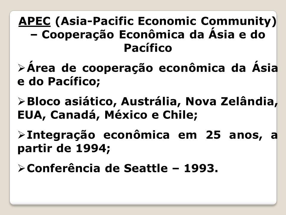 APEC (Asia-Pacific Economic Community) – Cooperação Econômica da Ásia e do Pacífico Área de cooperação econômica da Ásia e do Pacífico; Bloco asiático