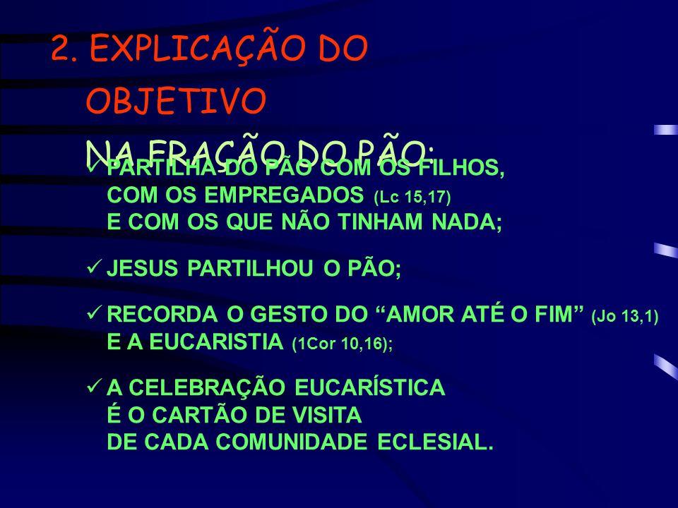 2. EXPLICAÇÃO DO OBJETIVO NA FRAÇÃO DO PÃO: PARTILHA DO PÃO COM OS FILHOS, COM OS EMPREGADOS (Lc 15,17) E COM OS QUE NÃO TINHAM NADA; JESUS PARTILHOU