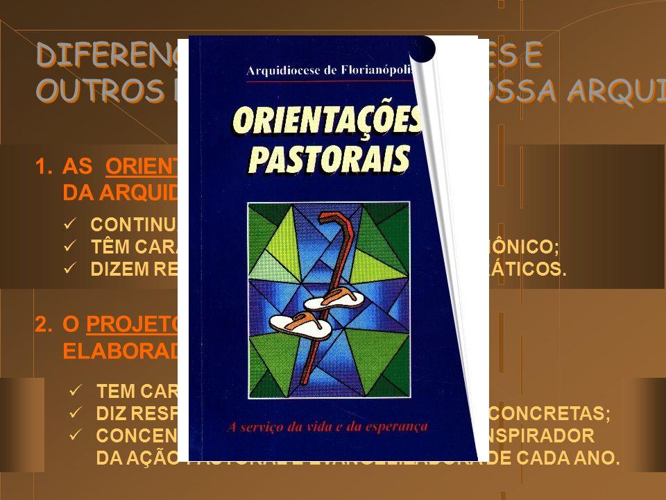 DIFERENÇA ENTRE DIRETRIZES E OUTROS DOCUMENTOS DE NOSSA ARQUIDIOCESE 3.OS PROJETOS PASTORAIS SÃO ELABORADOS PELAS PASTORAIS ESPECÍFICAS; DIZEM RESPEITO ÀS PARTICULARIDADES DE CADA SETOR DE PASTORAL, DE CADA ORGANISMO ECLESIAL., 4.A CARTA PASTORAL, PUBLICADA POR DOM EUSÉBIO (2000) TEM CARÁTER EXORTATIVO, PARENÉTICO, A PARTIR DE UMA PERSPECTIVA TEOLÓGICO-ECLESIOLÓGICA.