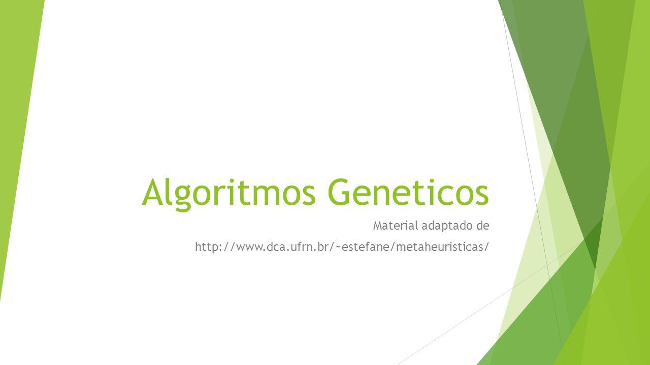 Algoritmo Genético Cromossomo A solução s (um vetor de uns e zeros) é naturalmente representada por um cromossomo binário.