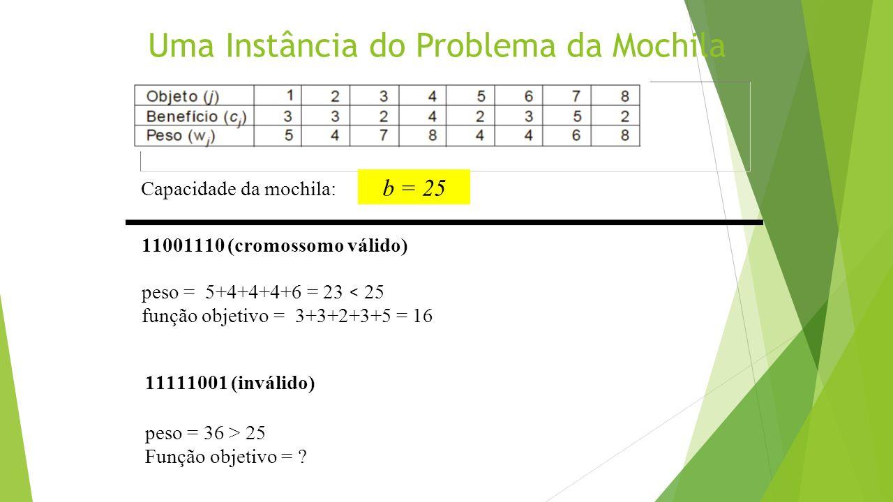 Uma Instância do Problema da Mochila Capacidade da mochila: 11001110 (cromossomo válido) peso = 5+4+4+4+6 = 23 < 25 função objetivo = 3+3+2+3+5 = 16 1