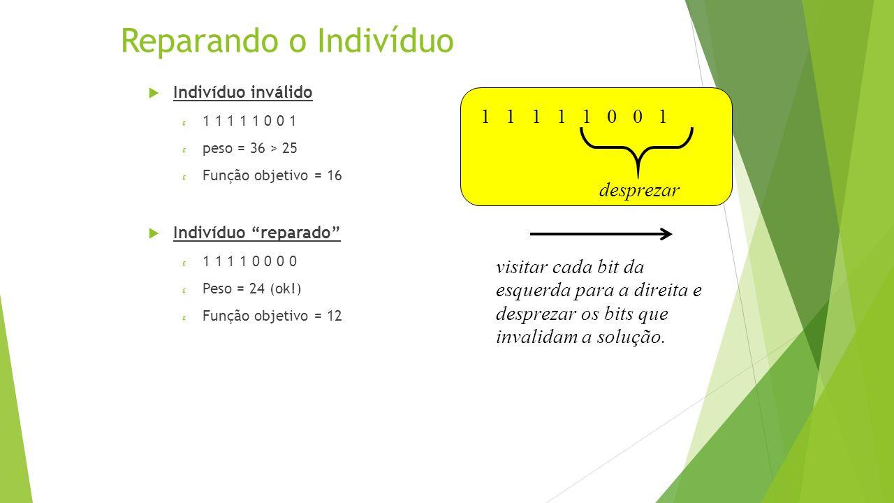 Reparando o Indivíduo Indivíduo inválido 1 1 1 1 1 0 0 1 peso = 36 > 25 Função objetivo = 16 Indivíduo reparado 1 1 1 1 0 0 0 0 Peso = 24 (ok!) Função