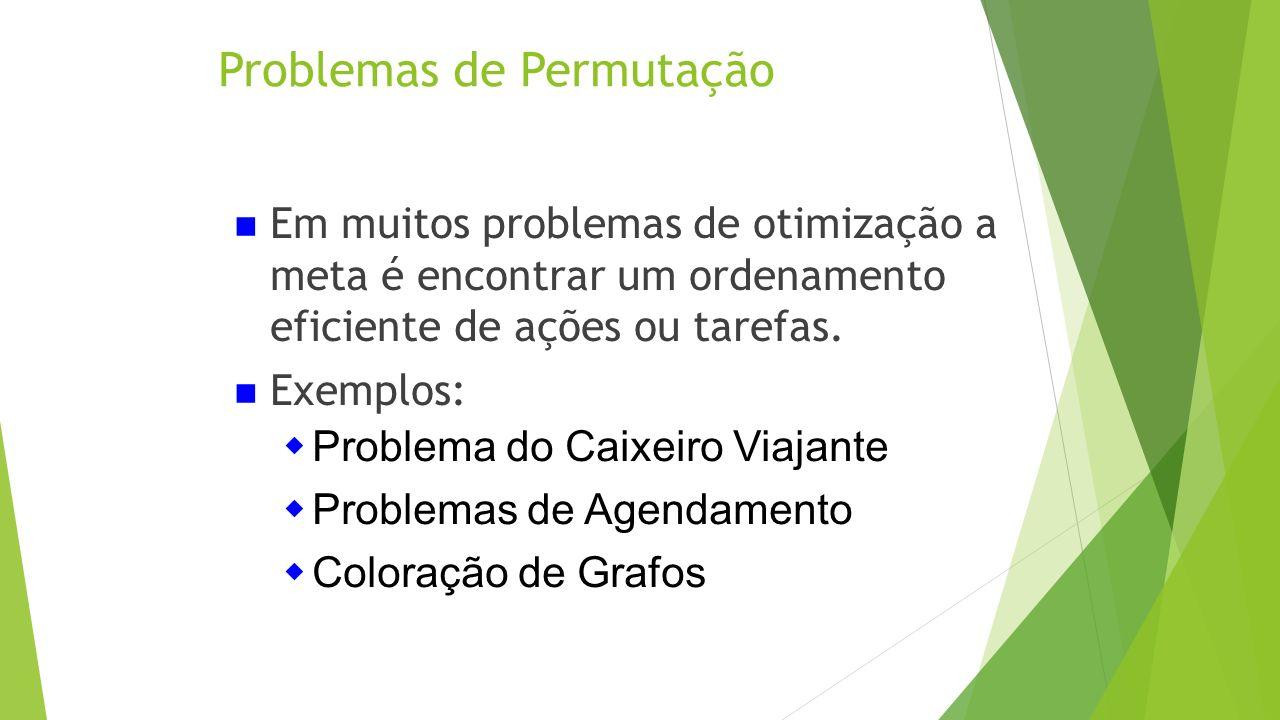 Problemas de Permutação Em muitos problemas de otimização a meta é encontrar um ordenamento eficiente de ações ou tarefas. Exemplos: Problema do Caixe
