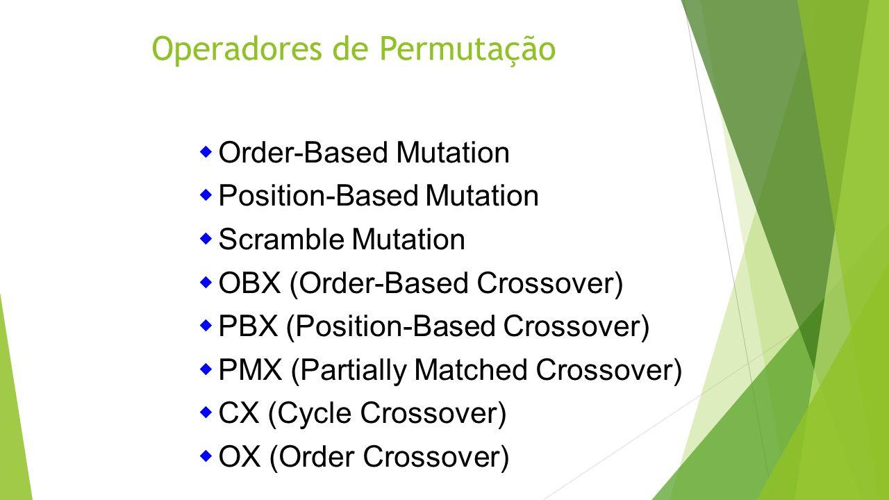 Operadores de Permutação Order-Based Mutation Position-Based Mutation Scramble Mutation OBX (Order-Based Crossover) PBX (Position-Based Crossover) PMX