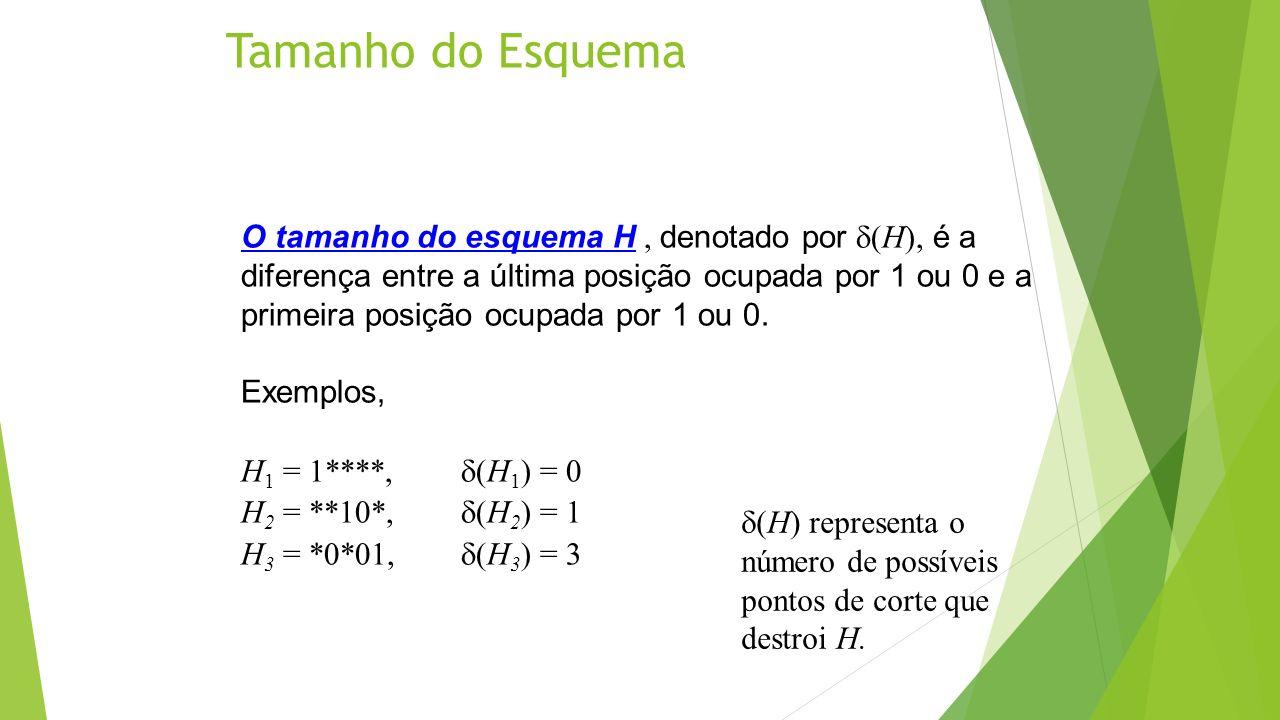 Tamanho do Esquema O tamanho do esquema H, denotado por (H), é a diferença entre a última posição ocupada por 1 ou 0 e a primeira posição ocupada por