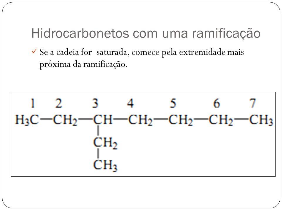 Hidrocarbonetos com uma ramificação Se a cadeia for saturada, comece pela extremidade mais próxima da ramificação.