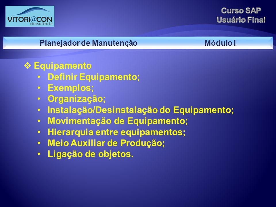 Equipamento Definir Equipamento; Exemplos; Organização; Instalação/Desinstalação do Equipamento; Movimentação de Equipamento; Hierarquia entre equipam