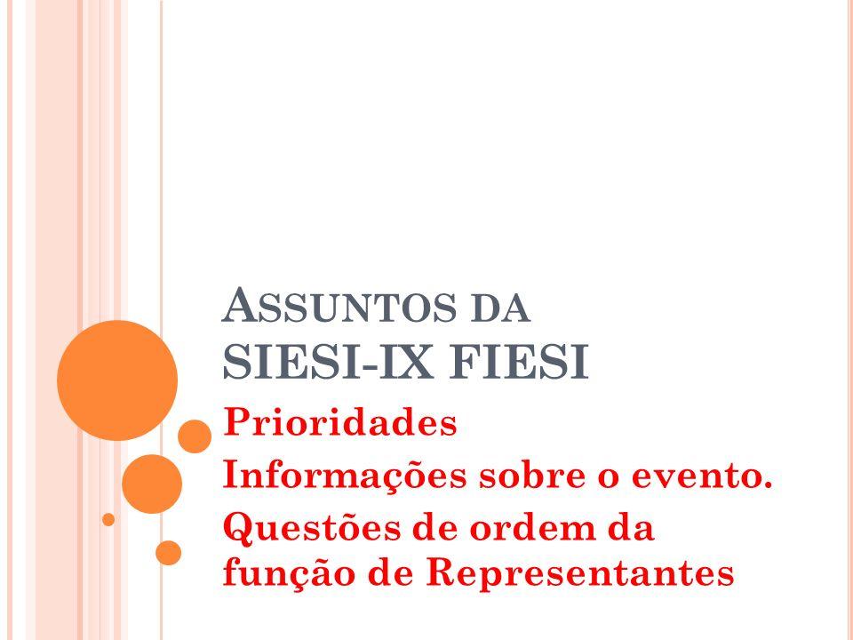 A SSUNTOS DA SIESI-IX FIESI Prioridades Informações sobre o evento.