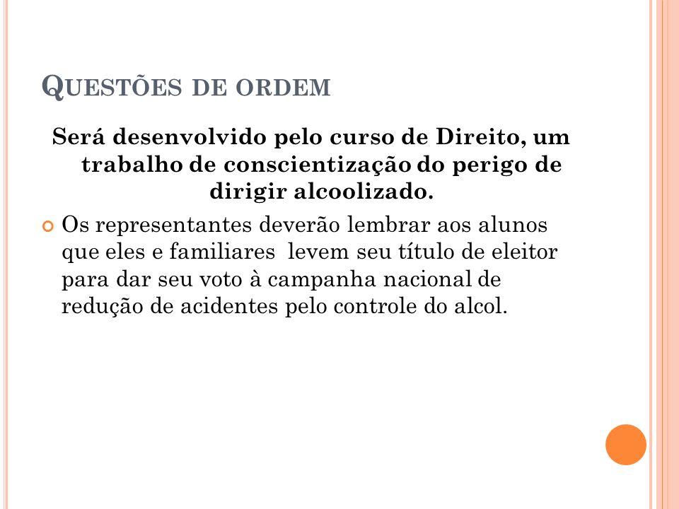 Q UESTÕES DE ORDEM Será desenvolvido pelo curso de Direito, um trabalho de conscientização do perigo de dirigir alcoolizado.