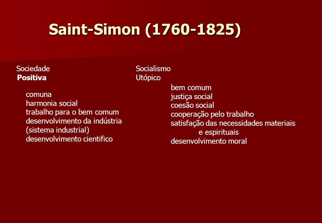 Saint-Simon (1760-1825) Sociedade Positiva comuna harmonia social trabalho para o bem comum desenvolvimento da indústria (sistema industrial) desenvol