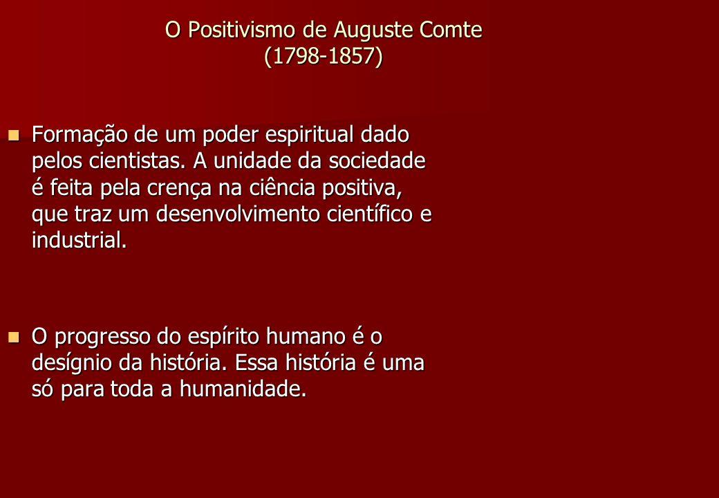 O Positivismo de Auguste Comte (1798-1857) Formação de um poder espiritual dado pelos cientistas. A unidade da sociedade é feita pela crença na ciênci